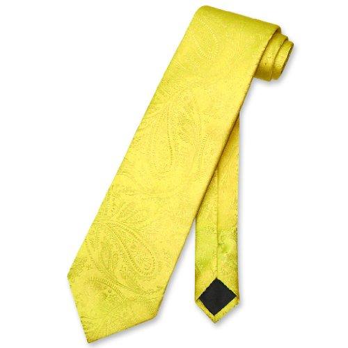 Vesuvio Napoli NeckTie YELLOW Color Paisley Design Men's Neck Tie