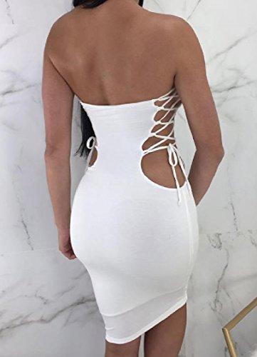 Coolred-femmes Bandage Évidé Silm Club En Forme De Robe De Soirée Poitrine Enveloppé Blanc