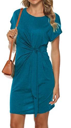 SHOWNO Women Plain Tie Knot Bodycon Fall & Winter Long/Short Sleeve Mini Dress