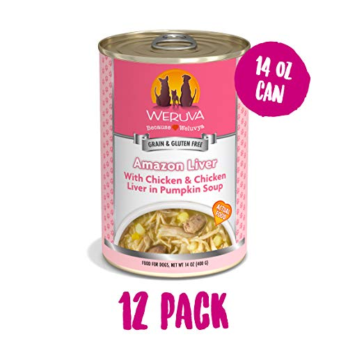 Weruva Classic Dog Food, Amazon Liver With Chicken Breast & Chicken Liver In Pumpkin Soup, 14Oz Can (Pack Of 12)