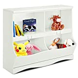 Costzon Toy Storage Organizer, Open Storage Toy Organizing Cubby, Multi-Bin Organizer Cabinet with Footboard, Nursery Bookshelf for Children Girls & Boys Bedroom Decor Room, White