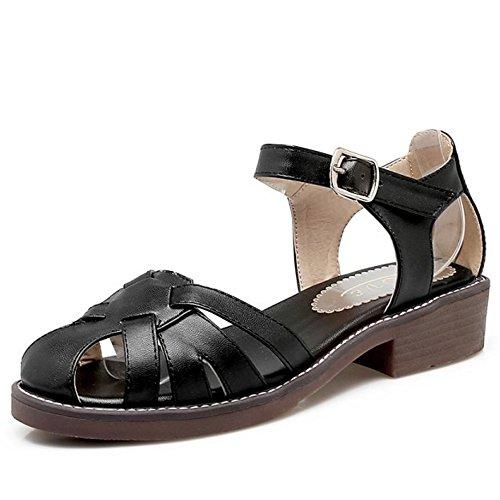TAOFFEN Mujer Gladiador Sandalias Tacon Ancho Tacon Bajo Verano Playa Zapatos Negro