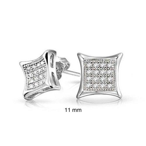 CZ Stud earrings 925 Sterling Silver 11mm ()