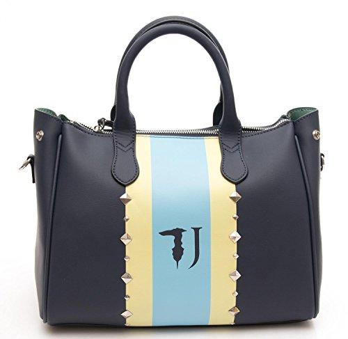 Borsa Donna Blondie Printed Stripes Studs Tote Medium Bag Blue