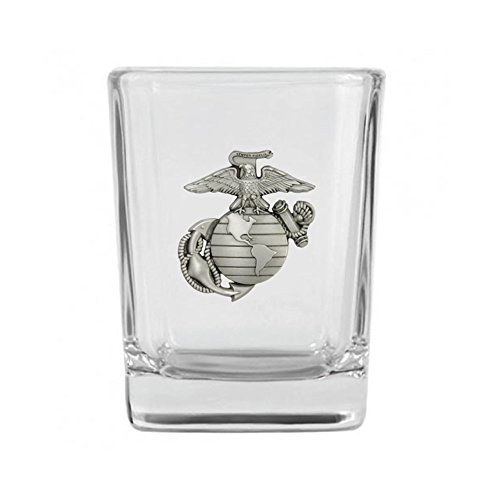 (Indiana Metal Craft US Marine Corps Solid Pewter EGA Emblem Shot Glass. Made in USA.)
