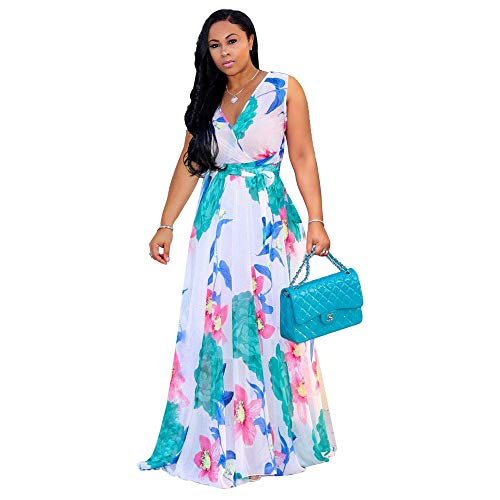 Wrap Chiffon Floral (Womens Maxi Dresses Summer Sleeveless Wrap V Neck Chiffon Floral Beach Long Casual Dress (White, X-Large))