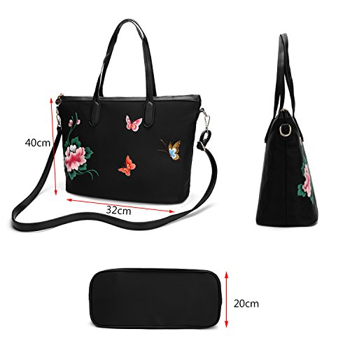 broderie Femmes sac la dos bandoulière broderie style à sac main à à à cuir fleurs chinois papillon dos véritable en sac qgfSq