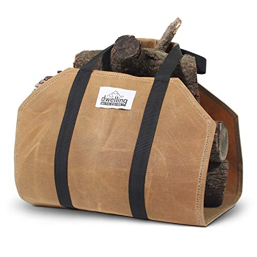 Large-Capacity Firewood Carrier with Super-Strong Handles, Sturdy Waxed Canvas Log Carrier | Water-Resistant Firewood Holder Indoor | Heavy-Duty Canvas Log Carrier, Fire Wood Bag