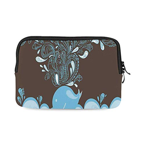 Whale Mini Compatible with Ipad Bag,Baloon Like Whale in The Ocean with Bubbles Cartoon Batik Tribal Style Image for Work,One Size ()