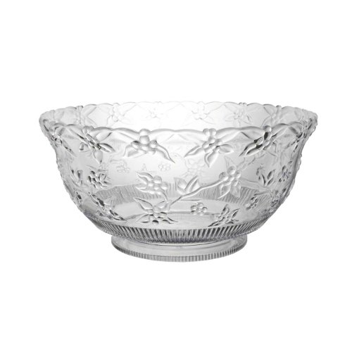 Party Essentials N080621 Classic Style Plastic Embossed Punch Bowl, 8 qt Capacity, Clear (Case of 6) (Serving Case Bowl)