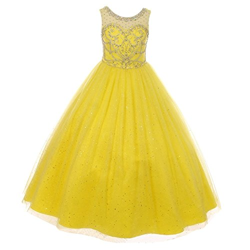 Cinderella Couture Big Girls Yellow Crystal Beading Glitter Tulle Floor Length Pageant Dress 14 Tulle Beading