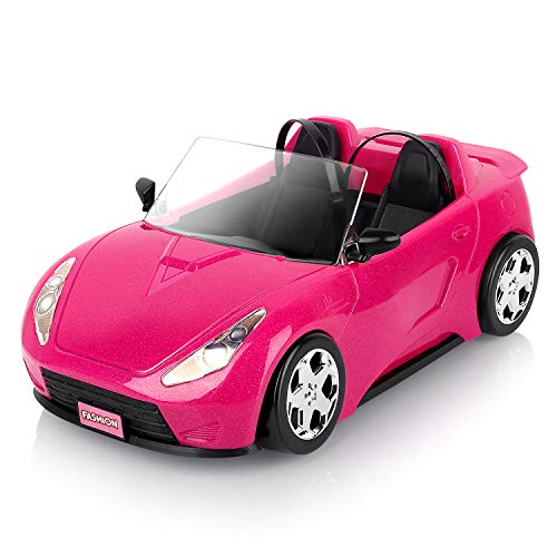 Super Joy Dolls Accessories - Convertible Car for Dolls Glittering Pink Convertible Doll