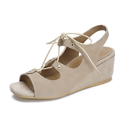 Sandals AgooLar Frosted Kitten Lace up Toe apricot Solid Open Heels Women's CwFwa7qz