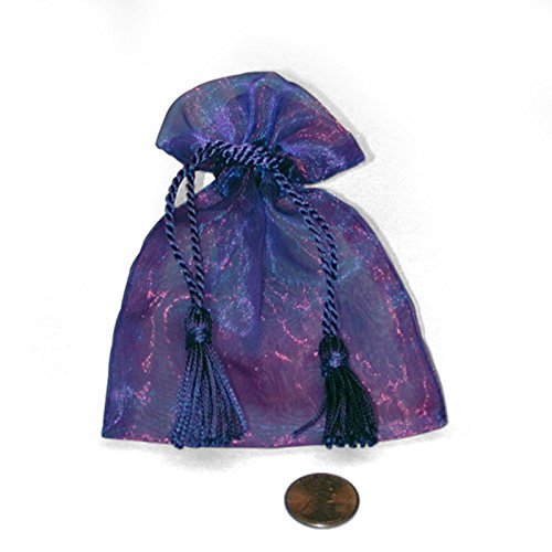 - Purple Two Tone Organza Bags with Tassels | Quantity: 20 | Width: 3