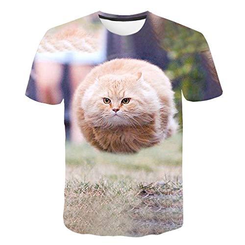 JJLIKER Mens 3D Cat Print Short Sleeve T-Shirt Crewneck Tops Funny Graphic Printed Tees Casual Sport Large Size S-5XL
