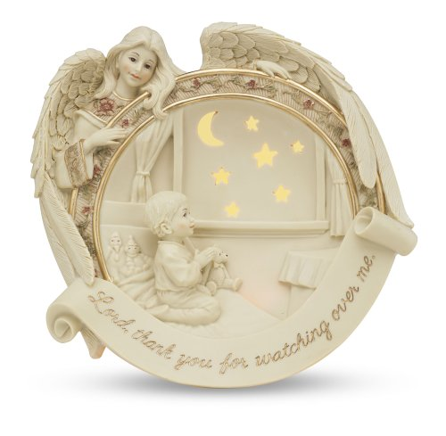 Angel Collectible Plate - Pavilion Gift Company Sarah's Angels Tapestry Series Illuminated Angel with Child Praying Plate, Includes Wall Plug, 7-Inch