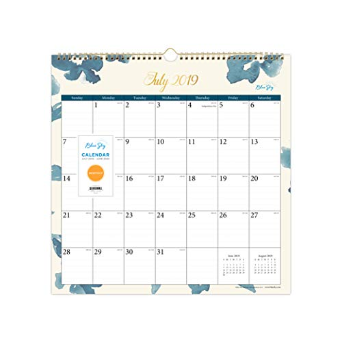 Blue Sky 2019-2020 Academic Year Monthly Wall Calendar, Twin Wire Binding, 12