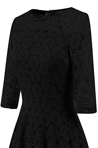 Anatoky Femmes Manches 3/4 Foral Robe En Dentelle Formelle Robe De Princesse Haut-bas Une Ligne De Demoiselle D'honneur Pour Le Sarclage Cocktail De Bal Noir