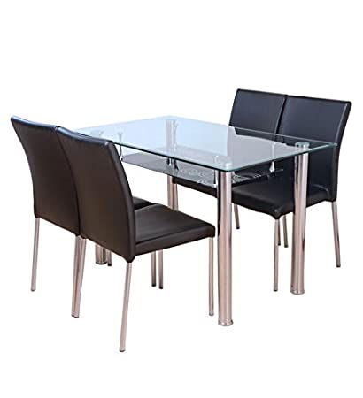 HomeTown Vento Four Seater Dining Table Set (Black)  Amazon.in  Electronics ae4a297df