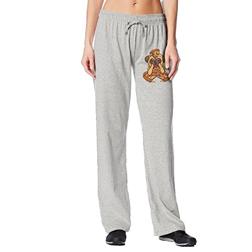 Cindly Pug Love Pizza Women's Long Sweatpants With Pockets 100% Cotton by Cindly