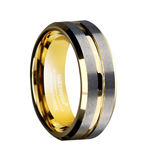 Queenwish 8mm Gold Silver Plated Tungsten Wedding Bands Brushed Surface Grooved Center Statement Couples Rings Size 8.5 ()