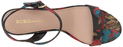 Rempty BCBGeneration Women's Brocade Gold Sandal Becca Red Floral SqXBUqx