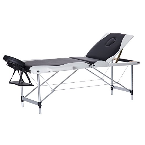 """3-Section Folding Massage Table 73"""" Professional Massage Bed With Free Carrying Bag For SPA Therapy Beauty Salon (Aluminum Alloy Frame, 24″ H, Black & White)"""