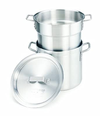 Crestware 8-Quart Heavy Weight Aluminum Double Boiler with 6-1/2 Quarter Inset Capacity
