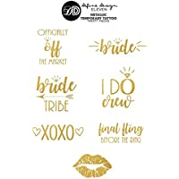 Bride Tribe Tattoo SET OF 20 Assorted Metallic Temporary Tattoo Gold Foil Tattoo Bridesmaid Gifts Gold Tattoo Hens Party Bachelorette Party Tattoo Flash Tattoo