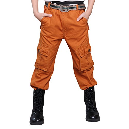 Boy Cargo Pants Casual Trousers Solid Color Slacks Orange 130cm - Kids Cargo Pants