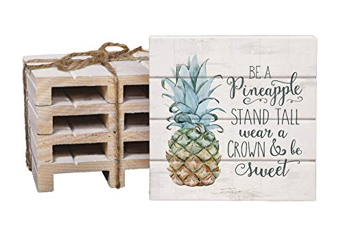 Pineapple Coasters - Be A Pineapple White 4 x 4 Inch Dried Pine Wood Pallet Coaster, Pack of 4