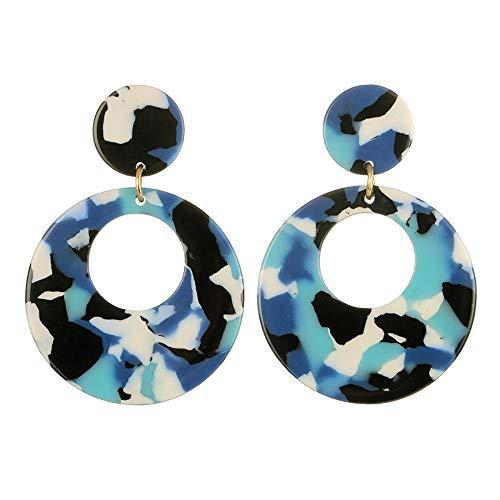 Cathy Clara Women Creative Round Acrylic Stud Earrings Fashion Multicolor Round Earrings Sterling Silver Hoop Earrings For Women