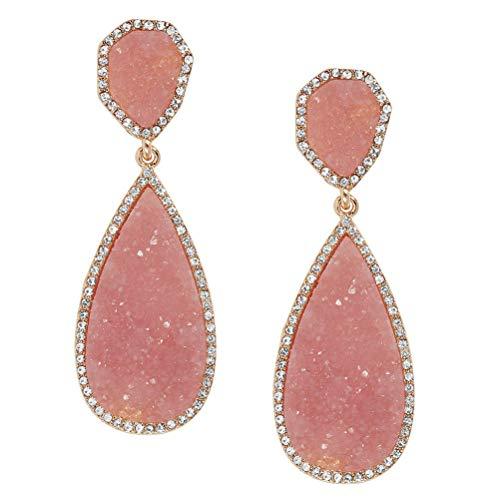 - Darget Faux Druzy Earrings Peach Colored Earring Shimmery Glass Drop Earings Statement Stud Girls and Women (Blush)