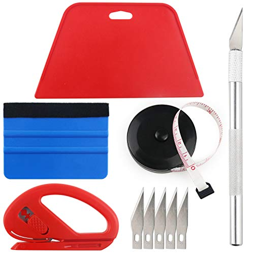 (Wallpaper Smoothing Tool Kit Include Black Tape Measure,red Squeegee,Medium-Hardness Squeegee,snitty Vinyl Cutter and Craft Knife with 5 Replacement Blades for Adhesive Paper Application Window)