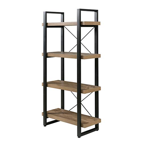 - OneSpace Bourbon Foundry 4-Tier Bookshelf, Wood and Black Steel