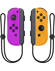 Wireless Switch Joycon Controllers, D.Gruoiza Joy Con Controller Compatible for Switch Support Wake-up Function with Wrist Strap(Purple and Orange)