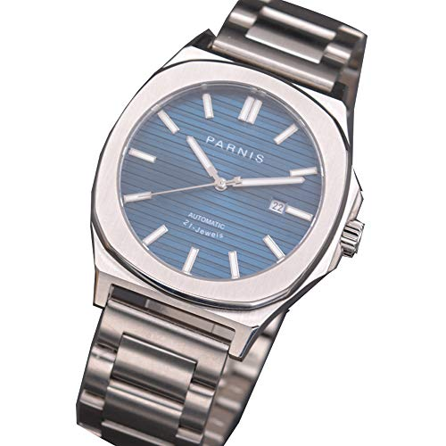 45mm parnis Blue dial Steel Strap Watch MIYOTA Sapphire Crystal Mechanical Watch