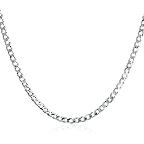 925 Sterling Silver Flat Curb Cuban Link Chain Necklace 20 inch for Women men 3.0 mm (Silver Flat Curb Chain)