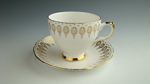 Queen Anne Cup Saucer - Queen Anne 96 GOLD TRIM Cup and Saucer Set EXCELLENT