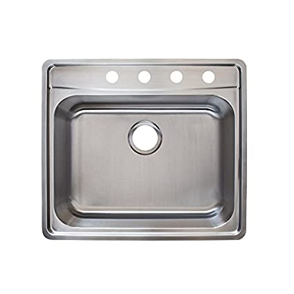 Franke Evolution 25.5u0026quot; Top Mount Single Bowl 4 Hole Kitchen Sink With  Fast