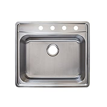 Franke Evolution 255quot Top Mount Single Bowl 4 Hole Kitchen Sink With Fast