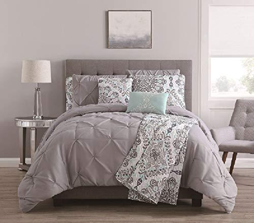 KingLinen 8 Piece Alanis Gray/Aqua Comforter and Quilt Set -