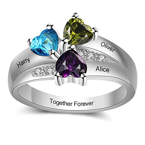 Four Engraved - MadisonAva Personalized Mothers Rings with 4 Heart Simulated Birthstones Engraved Name Promise Rings for Women Nana Gifts (5)