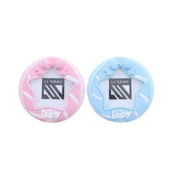 Li'Shay Blue and Pink Circle Baby Photo Frame – Set of 2
