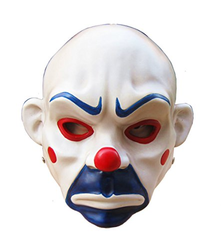 Gmasking Resin Knight Joker Adult Clown Cosplay Mask 1:1 Replica+Gmask Keychain White -