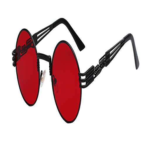 Sville Mary Men Round Sunglass Steampunk Coating Glasses Black W Sea Red - Steampunk To How Make Glasses