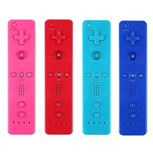 Yosikr Remote Wireless Controller Compatible for Nintendo wii/wii u Console - with Silicone Case and Wrist Strap (4 Pack Pink+Deep Blue+Blue+Red) (Nintendo Wii Console Pink)