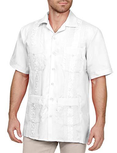 NEW Mens Guayabera Shirt Wedding Cigar NAVY ALL SIZES S~4XL