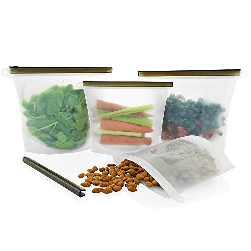Reusable Silicone Food Storage Bags by Eco Lifestyle - 2 Large & 2 Medium - Premium Eco Friendly Meal Prep Bag Solution for the Conscious Kitchen | Maintain Freshness and Food Quality
