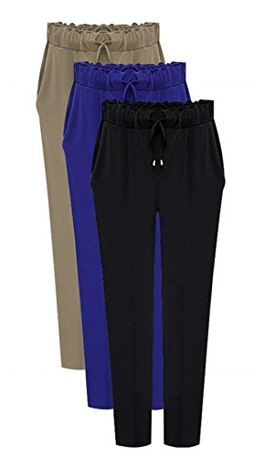Festa Pantaloni Monocromo Cintura 8 7 Moda Eleganti Pantaloni Khaki Donna Nahen Pantaloni Slim Taille Autunno Libero Primaverile Pantaloni Elastica Ragazze Tasche Tempo Harem Style Fit Casual Con AZXzxqwp